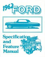 1962 Ford Facts & Features Sales Brochure Literature Book Specifications