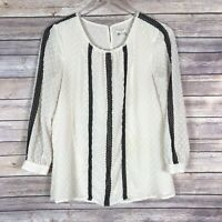 J Crew Ivory Black Lace Detail Swiss Dot 3/4 Sleeve Tunic Top Small S
