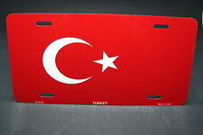 TURKEY FLAG METAL ALUMINUM CAR LICENSE PLATE TAG TURKIYE CUMHURIYETI