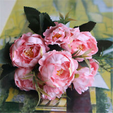 Us New Artificial Peony Silk Flowers Leaf Bouquet Home Floral Wedding Decor A4