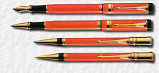 PARKER DUOFOLD SPECIAL EDITION ORANGE FOUNTAIN ROLLERBALL BALLPOINT PENCIL SET