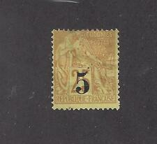 """COCHIN CHINA -  #1 - MH - 1886 - """"5"""" O/P ON FRENCH COLONIES STAMP"""