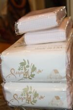 Vintage Sleepy Willow Pink Gingham Flannel Queen Sheet Set Pure Cotton Portugal