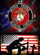 USMC Marines Wall clock (Great For Your Man Cave )  Handmade