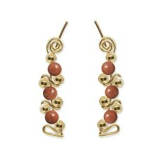 Ear Climbers Ear Crawlers Sweeps Earrings Gold w/ Goldstone Gemstone Beads #248