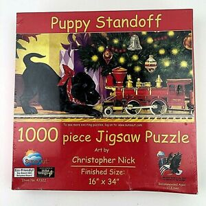 """SunsOut Jigsaw Puzzle """"Puppy Standoff"""" 1,000 piece puzzle, 16"""" by 34"""" New Sealed"""