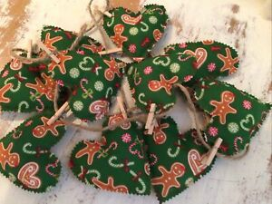 Christmas Bunting Gingerbread Man Filled  Hearts 10 Hearts Handmade Shabby Chic