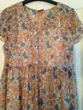 BNWT NEXT Girls Blue Peach Floral Butterfly Longline Chiffon Blouse Top Age 15