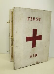 "Vintage Wooden Box Cupboard Shelves Painted First Aid Chipped Paint 15""x20"""
