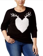 Style & Co Sweater Sz 3X Black Winter Holiday Reindeer Heart Pullover Top New