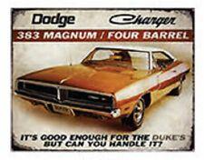 """15"""" X 12"""" TIN SIGN DODGE CHARGER 383 MAGNUM FOUR BARREL METAL SIGN NEW"""
