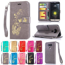 Gold Butterfly Wallet Leather Flip Case Cover For LG Mobile Phone