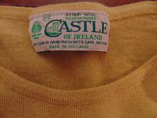 CASTLE OF IRELAND Mens Crew Neck Sweater Sz 44 Large Beige/Wheat Botany Wool