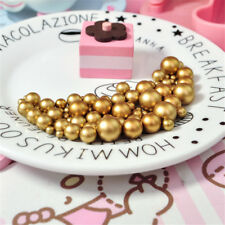 4-12mm Faux Pearls Gold Tone Plastic Craft Beads No Holes Wedding Decor DIY