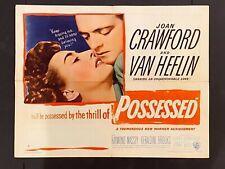 POSSESSED '47 JOAN CRAWFORD VAN HEFLIN FILM NOIR HALF SHEET