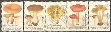 Sweden: 5 used stamps of a set, mushrooms, 2015, Mi#3064-8
