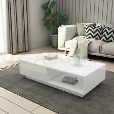 Modern Coffee Table Storage Drawer Shelf Cabinet High Gloss Furniture White New