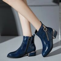 Women's Block Low Flat Heel Ankle Boots Patent Leather Zip Fashion Shoes Booties