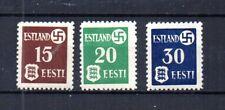 WWII GERMANY INVADES & OCCUPIES ESTONIA 1941 SCOTT# N3-N5 COMPLETE SET. MNH, OG.