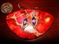Beautiful Vintage Sterling Silver & Amethyst Earrings.925
