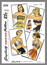 Simplicity Vintage  Set Of Bra Tops Fabric material sewing pattern Sz Med  #2026