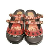 Elite by Corkys size 9 red & black leather artsy bump toe clog sandals Boulder