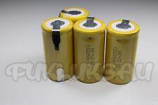 4 PILAS BATERÍA SUB C Nimh recargable SC 1.2 V 1300mAH a ficha PATA batería