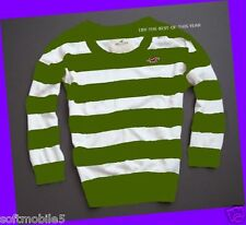 Hollister Bettys Women Striped Sweater Top L Large Pullover White & Forest Green