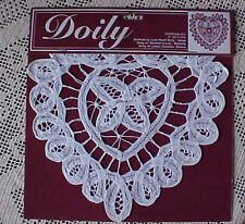 """Batterburg Lace Heart Doilies Lot of 2 New 8"""" Hand Crafted Great Valentines Day"""
