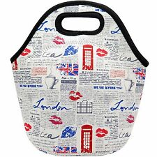 Neoprene Lunch Bag - Insulated Lunch Tote Bags (London Times Design)