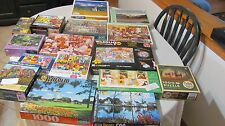HUGE JIGSAW PUZZLE LOT OF 16 PUZZLES - 15 USED, 1 NEW-BARGAIN!
