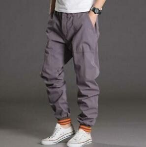 Men's Loose Sports Mid-Rise Trousers Plus Casual Baggy Jogger Pants Outdoor Uk