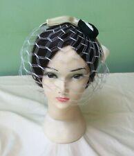 50s Vintage Hat. Cream and black Fascinator Birdcage Veil.  Cocktail Hat