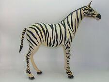 "Vintage India Made 18"" Leather Wrapped Safari Zebra Figurine Statue"