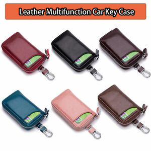 Leather Wallet Car Key Holder Case Keychain Bag Zip Pouch with Card Slot AU