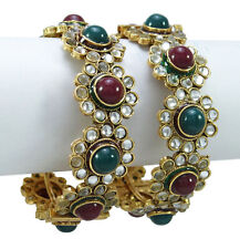 Traditional Pearl Stone Kada Bangle Goldtone Bracelet Women Jewelry Size 2*4,2*6