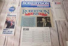 7 Piece Lot Pat Robertson Presidental Campaign Marketing Pieces Pin Sticker Etc.
