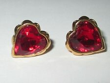AVON signed RED HEART rhinestone gold tone studs pierced earrings EUC