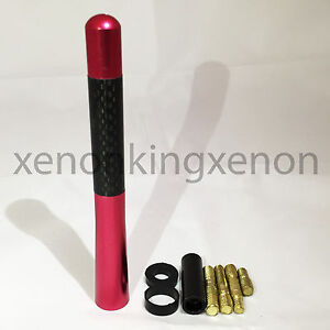 "JDM Style Short RED 5"" in/127 mm Carbon Fiber Screw Type Antenna #r7 Vehicles"