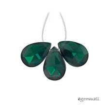 5 Cubic Zirconia Flat Pear Briolette Beads 6x9mm Dark Bluish Emerald #96134