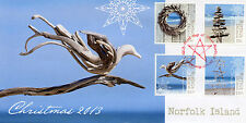 Norfolk Island 2013 FDC Christmas 4v Set Cover Wreath Star Tree Stamps