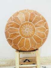 Moroccan tan POUF* Boho** with White Stitching Leather Pouf ottoman pouf morroca
