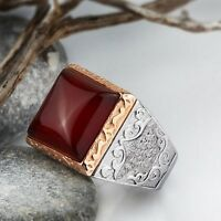 NEW HEAVY Antique Victorian Natural Red Agate in 925 STERLING SILVER Men's Ring