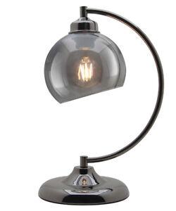 Modern Vintage Smoked Glass Shade Black Nickel Table Desk Bedside Lamp M0234