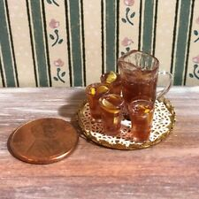 Dollhouse miniatures 1:12 Iced Tea Set - filled Pitcher and Glasses with Tray