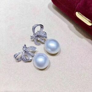 charming pair of 10-11mm south sea drop white pearl earring 925s
