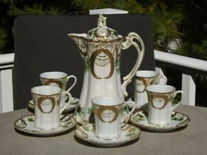 Nippon Moriage Chocolate Pot Coffee Service Set 24K Gold 9 Pieces Floral EXC