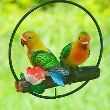 Hanging Parrot Figurines Perch on Metal Ring Birds Model Garden Sculpture