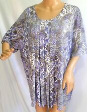Southern Lady Women Plus Size 1x Purple Tank Paisley white Top Shirt Blouse