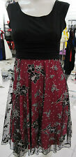 Dress S / M Red Black Floral Silver Glitter Layered Netting Empire NWT BR 110
